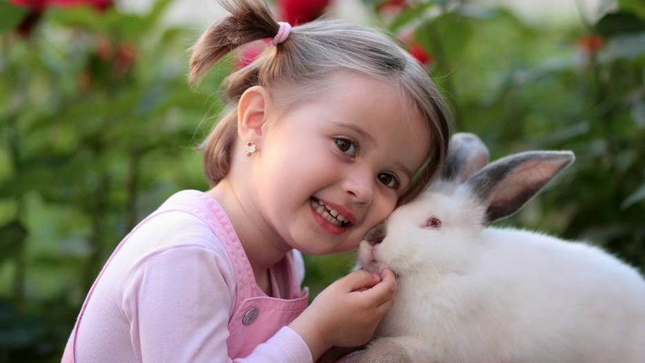 young girl with rabbit