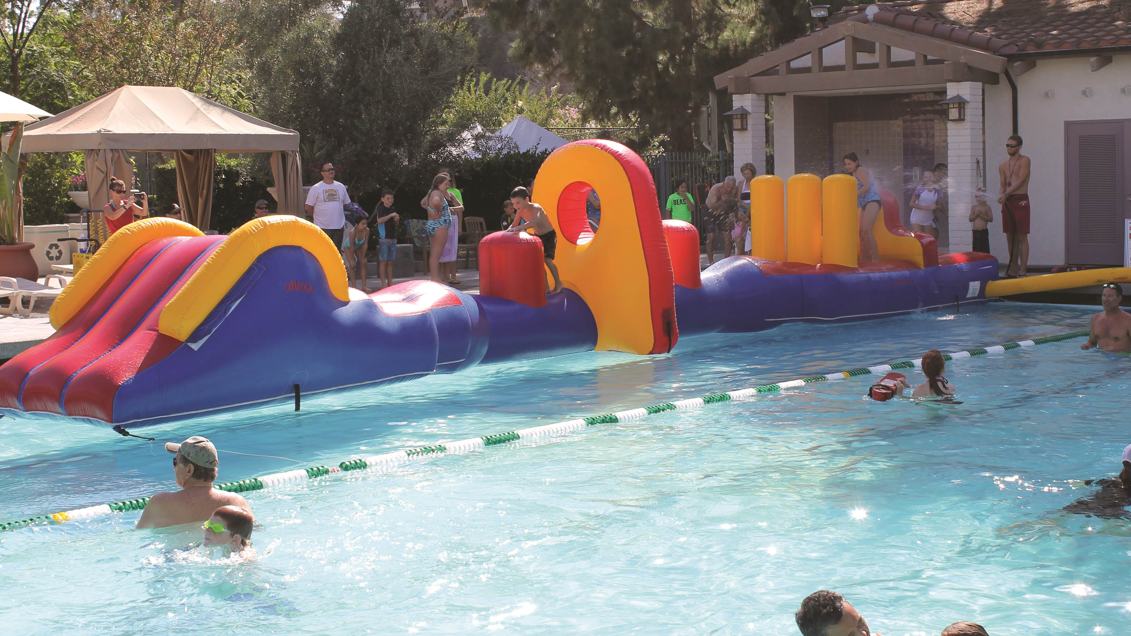 obstacle course in pool