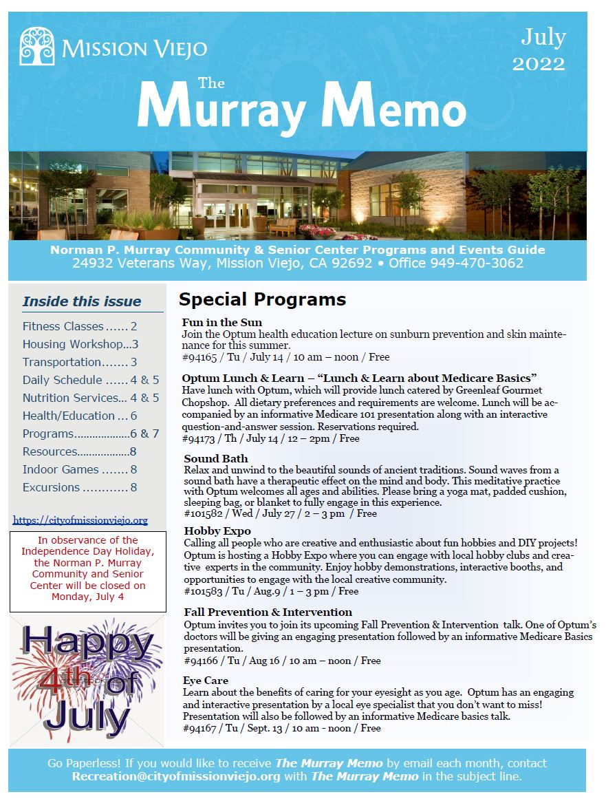 Murray Memo Current Cover
