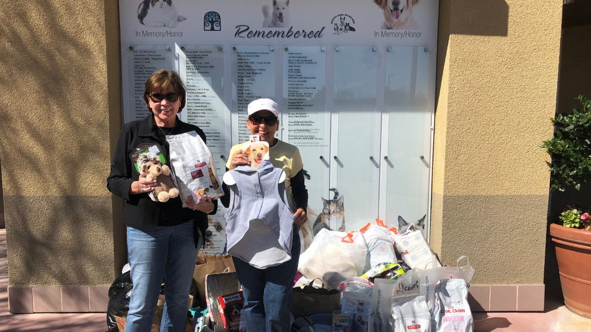 Laguna Niguel Woman's Club members Carolyn and Sonja with donations